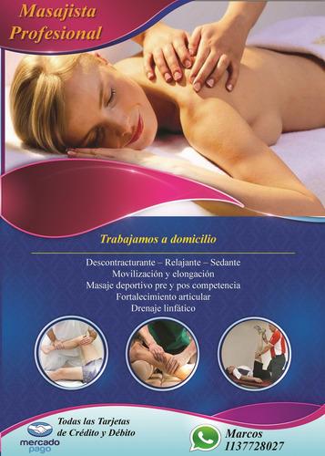 30%off masaje descontracturante y relajante a domicilio