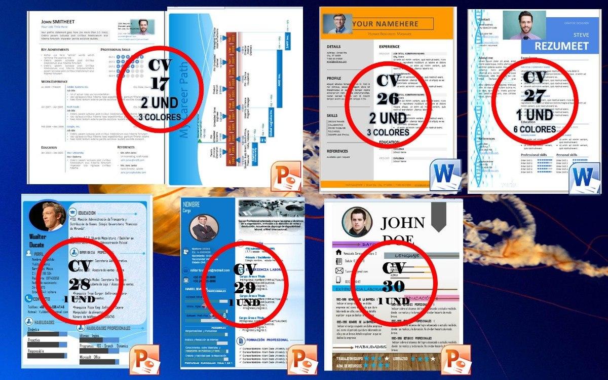 30plantillas Editable Powerpoint-word P/elaborar Curriculum - Bs ...