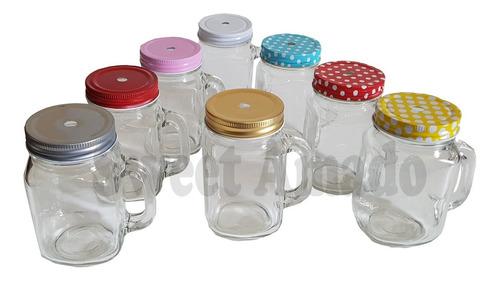 31 jarras canecas potes / mason jar + 31 tampas + 31 canudos