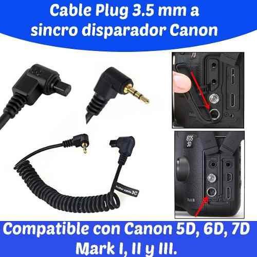 311 cable disparador canon a plug de 2 5 mm mono 5d 7d mark