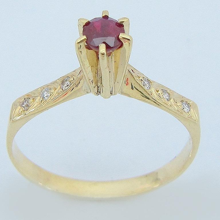 65f61e3a470 3124 Anel Ouro 18k Rubi E Diamante Li Gold - R  702