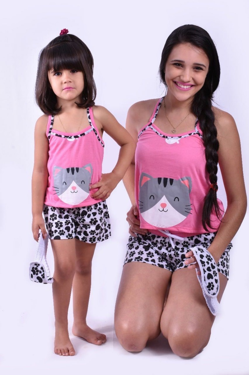 39120cdeb1f44a 318 Baby Short Doll Alça Bicho Gato Infantil C/ Tapa Olho