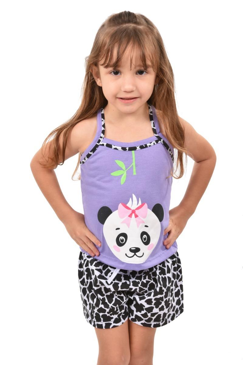 7ce0e1072c817c 318 Baby Short Doll Alça Bicho Urso Panda Infantil Tapa Olho