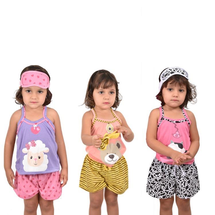 7b110e14c7a969 318 Kit 3 Baby Short Doll Alça Bicho Infantil Tapa Olho