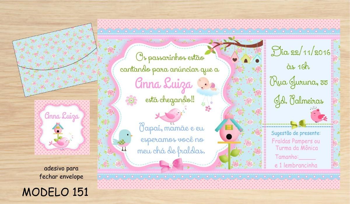 32 Convites Chá Bebê Menina Chá Fraldas R 3000 Em Mercado Livre