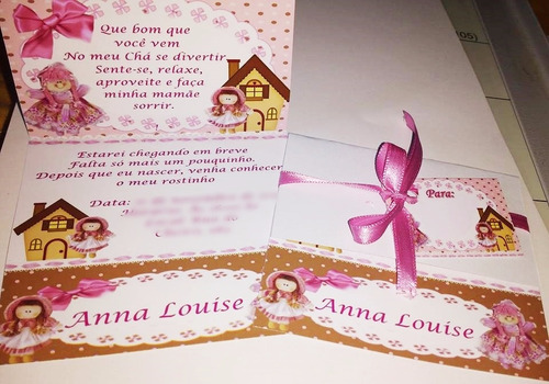 32 convites chá de bebê etc com envelope personalizados