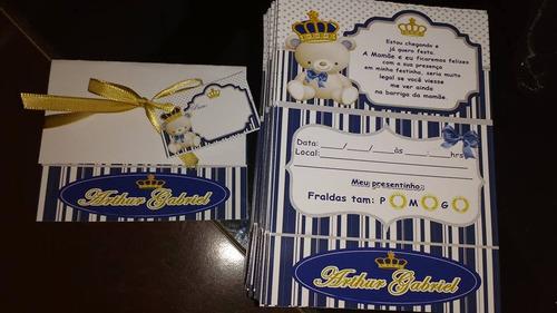 32 convites chá de fraldas, panela, aniv com fita e tags