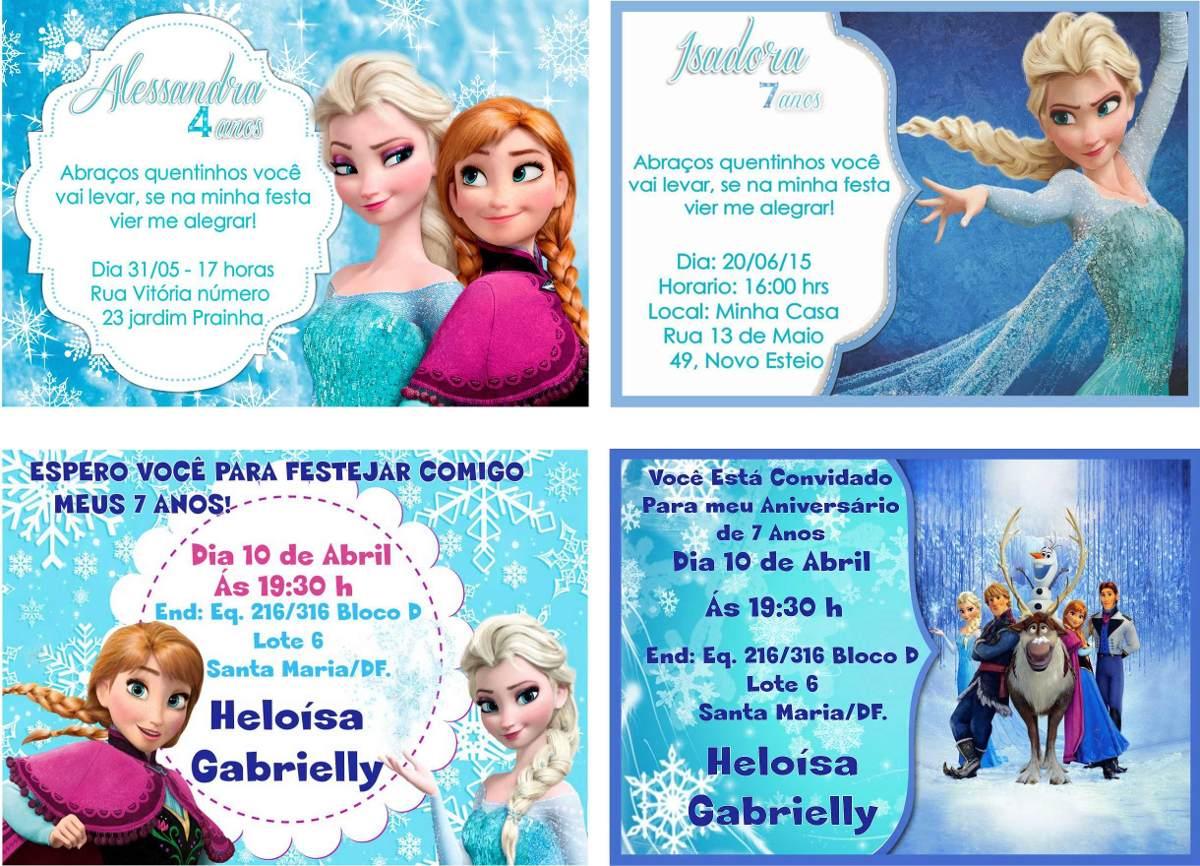 32 Convites Frozen Personalizados Com Foto Nome E Frase R 2499