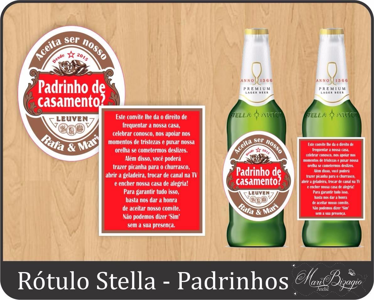 32 Rótulo Convite Padrinhos Madrinhas Cerveja Stella Artois R 74