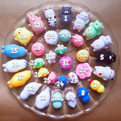 32 squishy mochi animals anti stress toys c/ bolsita kawaii