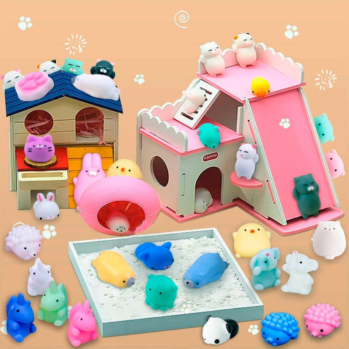 32 squishy mochi animals anti stress toys c/ bolsita kawaii