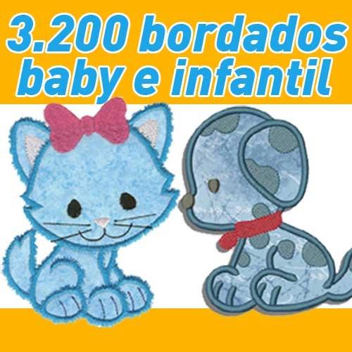 3200 bordados baby e infantil prontos em pes, jef ou outros