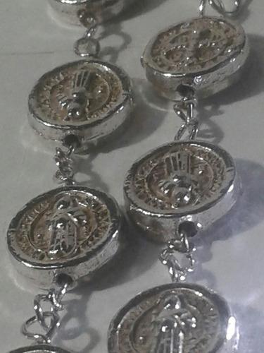 322 se vende exclusiva pulsera rosario de san b,en plata ley