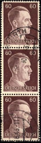 3275 alemania 3er reich tira(3) vertical  60pf usado 1941