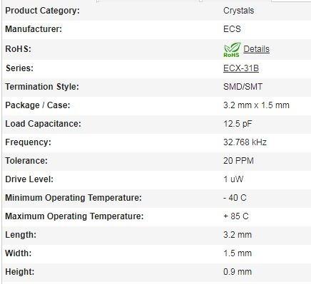 32.768 khz  (3 unidades) 9.0 pf cristal oscilador smd