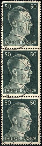 3277 alemania 3er reich tira(3) vertical  50pf usado 1941