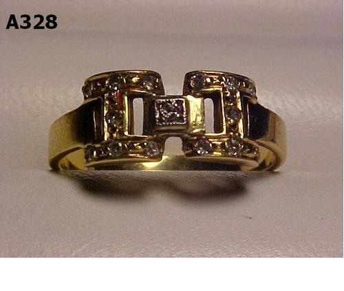 #328a - anel em ouro 18k com diversos diamantes