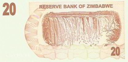 337 - cédula estrangeira - zimbabwe - twenty dollars