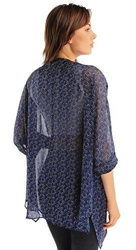 3/4 manga capas gasa estampado floral kimono  mujeres chaqu