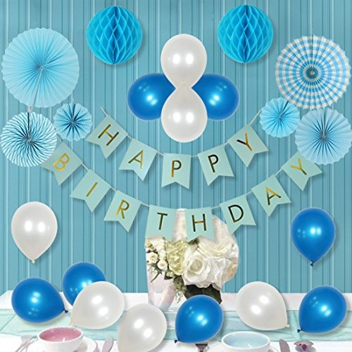 Paper Cut Out Blue Balloons First Birthday Decoration