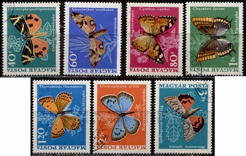 3448 mariposas hungría 7 sellos usados n h modernos