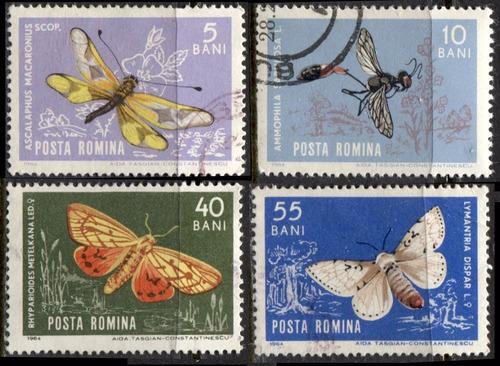 3453 insectos mariposas romanía 4 sellos usados n h 1964