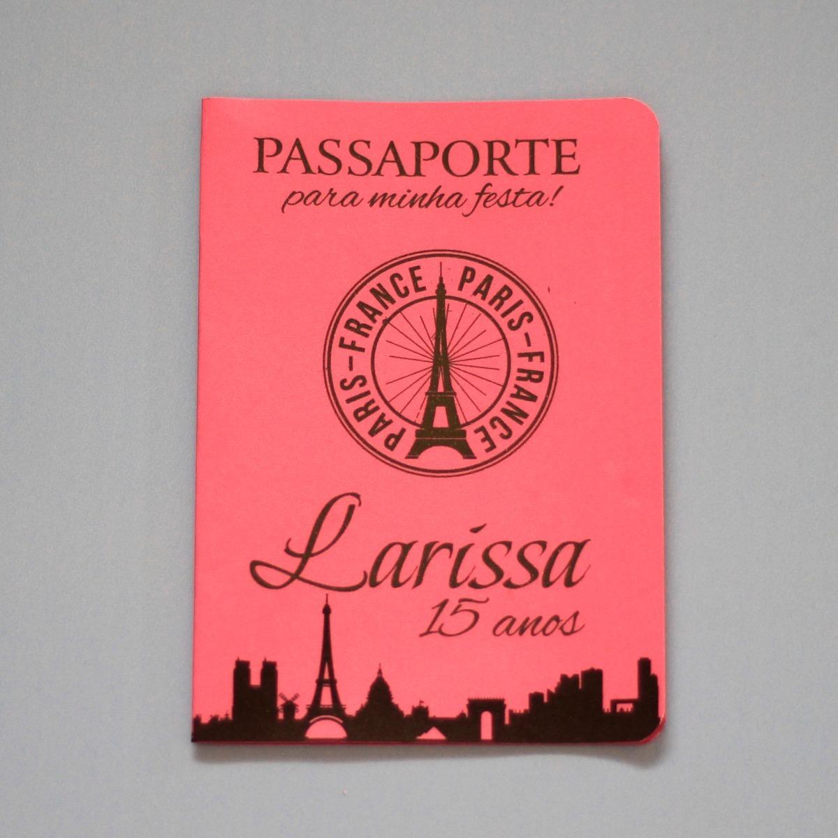 35 Convites Passaporte Rosa Preto Bebe Barato Pink Cores R 68