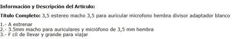 3,5 estereo macho para auricular microfono hembra divisor