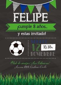 35 Invitaciones Futbol Deporte P Cumpleaños