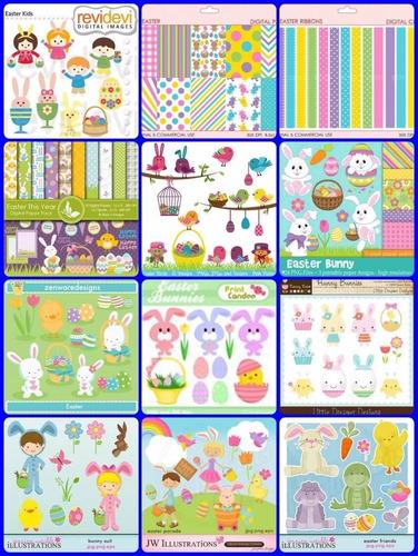 35 kits scrapbook digital pascoa coelhos e ovos