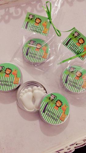 35 lembrancinha latinha sabonete pezinho bebe nascimento