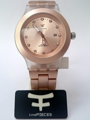 35% off - reloj calendario kosiuko full blooded oro rosa