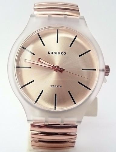 35% off- reloj correa elastizada kosiuko resolution oro rosa