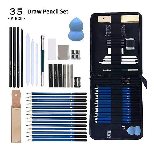 35 piezas de lápices de dibujo y dibujar conjunto del arte c