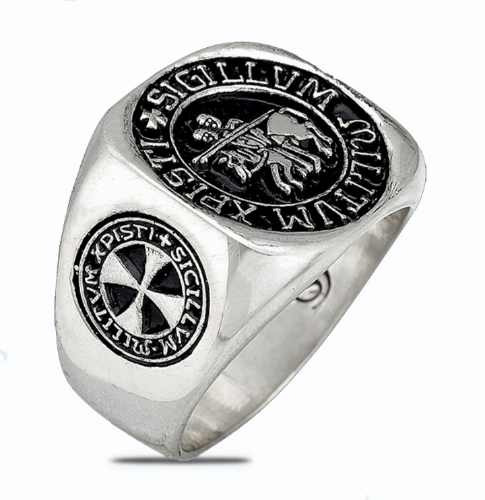 3510 anillo caballeros templarios  en plata de ley .925