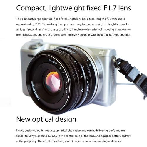 35mm f1.7-22 e-mount aps-c lente prime fija para sony a...