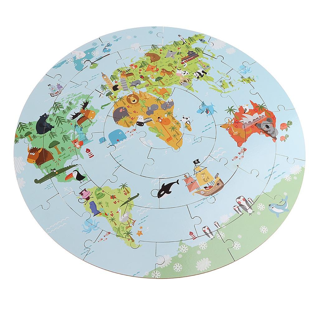 36 Piezas De Dibujos Animados Mapa Del Mundo Juego De Rompec