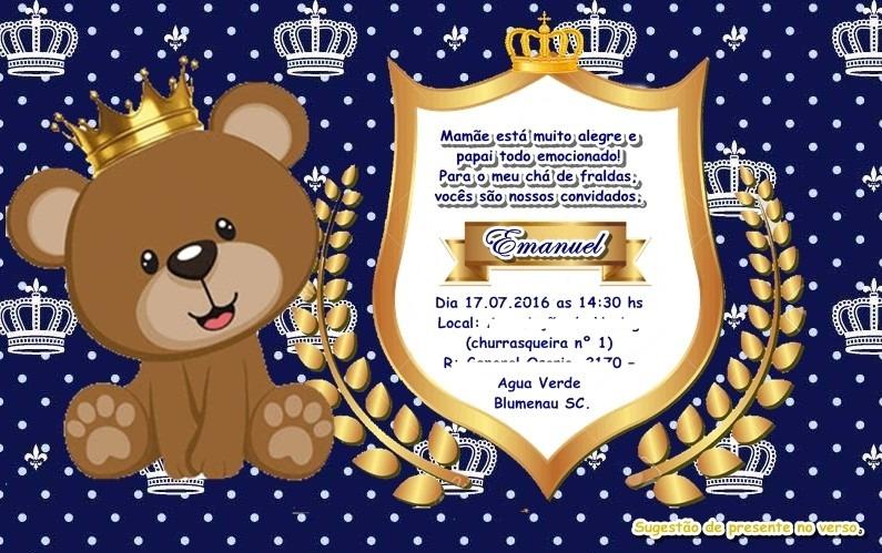Tag Convite Cha De Bebe Azul Marinho E Dourado