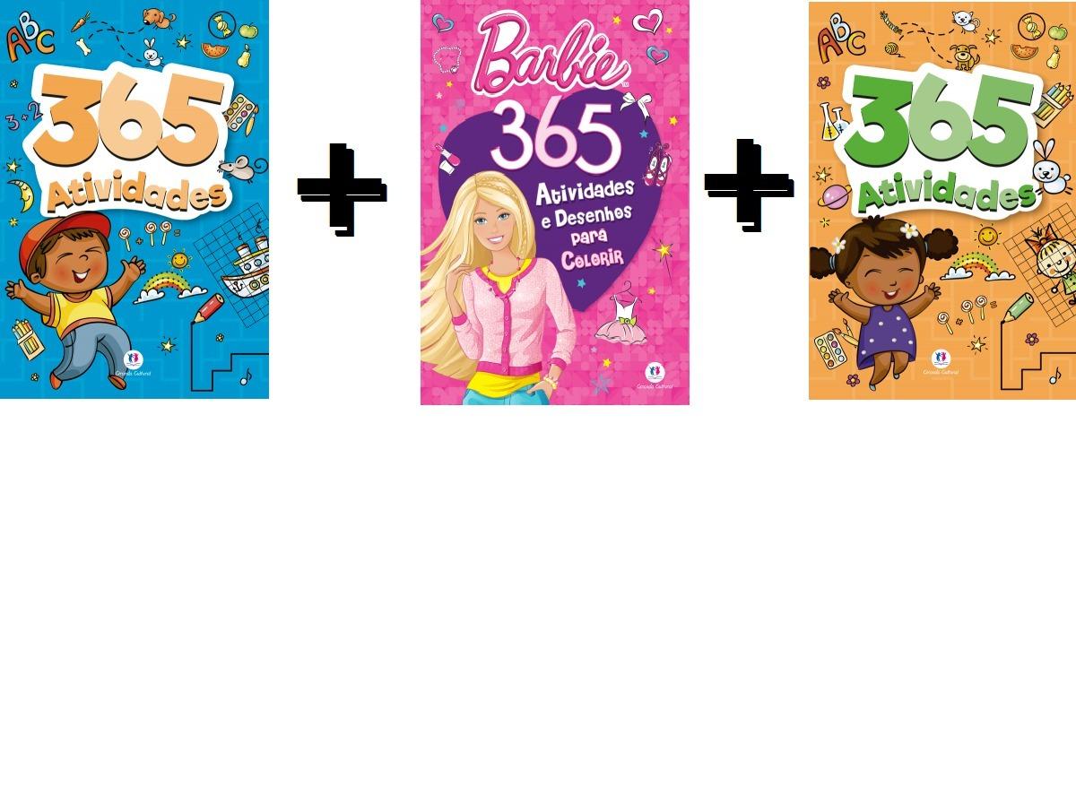 365 Atividades Laranja Barbie E Azul Kit C 3 Livros R 49 00