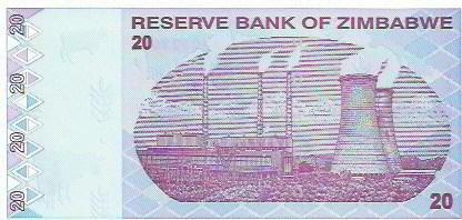368 - cédula estrangeira - zimbabwe - twenty dollars
