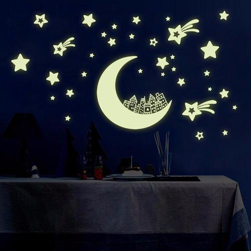 37 imagens adesivos fluorescentes teto estrelas cadentes lua