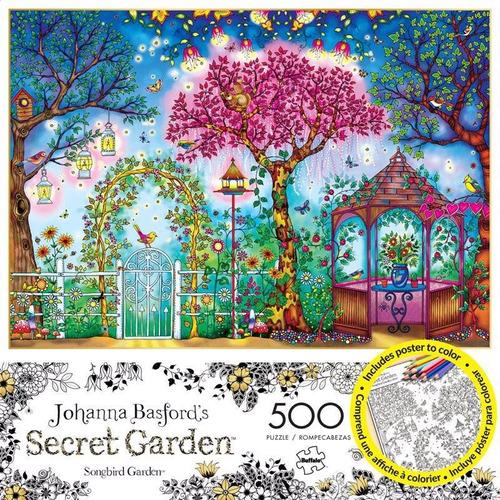 3843 jardín pájaros basford rompecabezas buffalo 500 piezas
