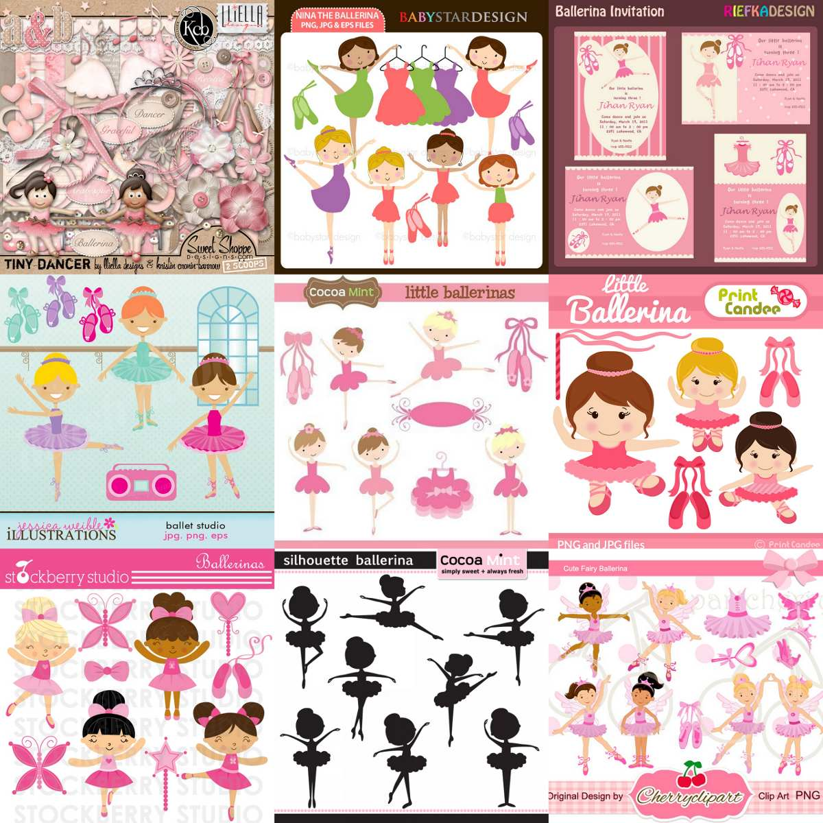 39 Kits Scrapbook Bailarinas Papel Digital Png Clipart Brind R