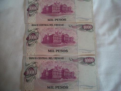 3billetes uruguayos correlativos de $1000 el precio x lote