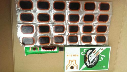 (3)cajas de 48 parchos con pega bicicleta moto