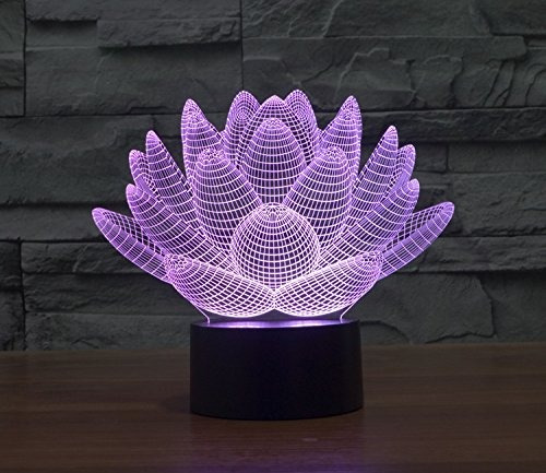 3d glow led noche de luz lotus inspiración 7 colores óptica