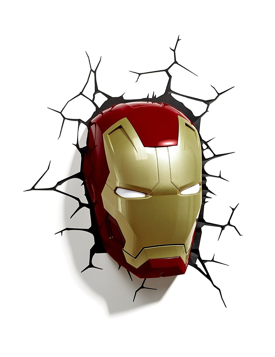 3d light fx marvel iron man mask 3d deco led wall light di cargando zoom aloadofball Images