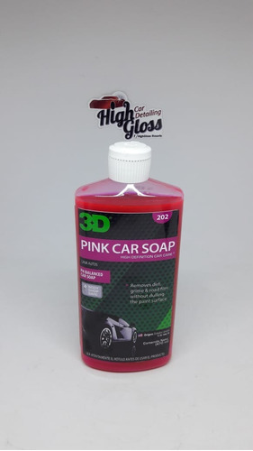 3d pink car soap shampoo ph neutro - 500ml  highgloss