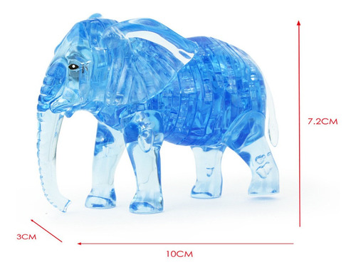 3d rompecabezas de cristal lindo elefante modelo de bricolaj