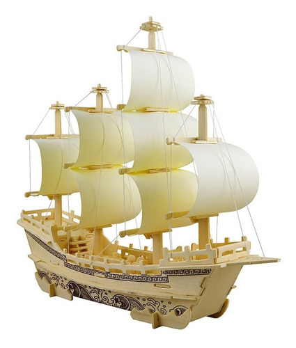 3d rompecabezas de madera juguete mini modelo de barco